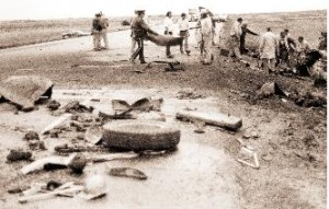Photo showing the aftermath of the bus crash near Webb, Sask. on May 28, 1980