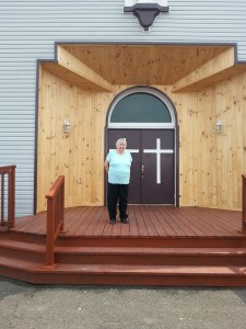 Rita Murphy in front of St. Brides church in 2015