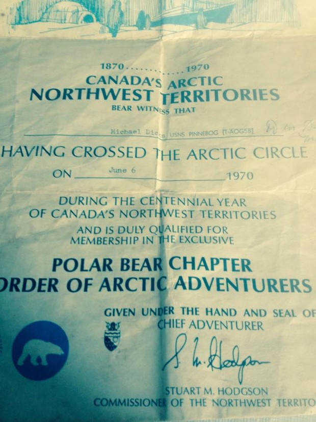 Certificate recognizing that Mike Dicks crossed the Arctic Circle and is a member of the Order of Arctic Adventurers