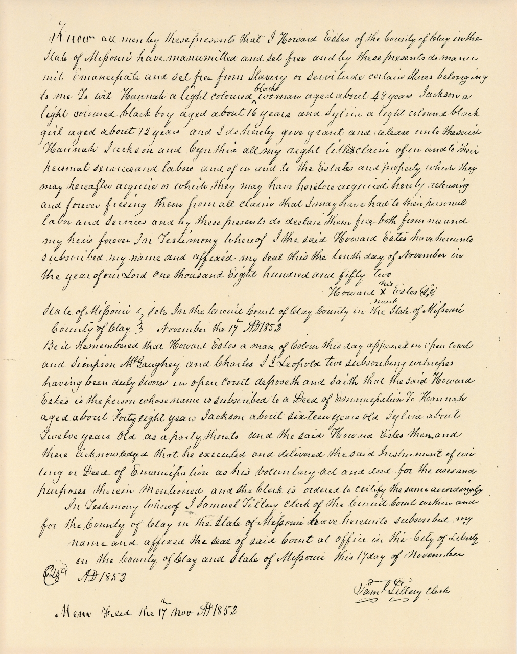 Acte d'émancipation rédigé à la main en 1852