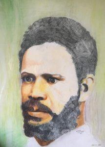 Croquis au crayon de couleur d'un jeune homme à moustache et barbe courte