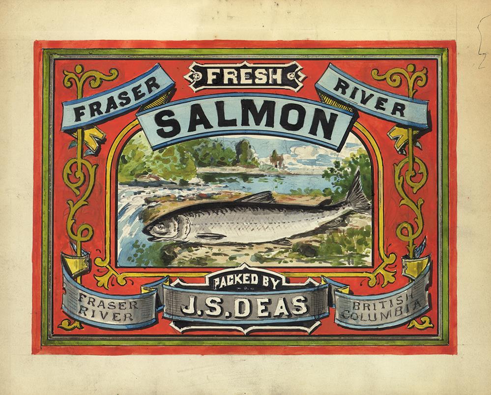 Étiquette décorative pour les boîtes de saumon