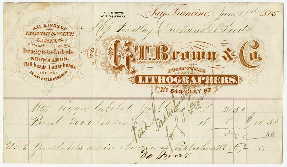 hand-written invoice with company letterhead dated June 18, 1875