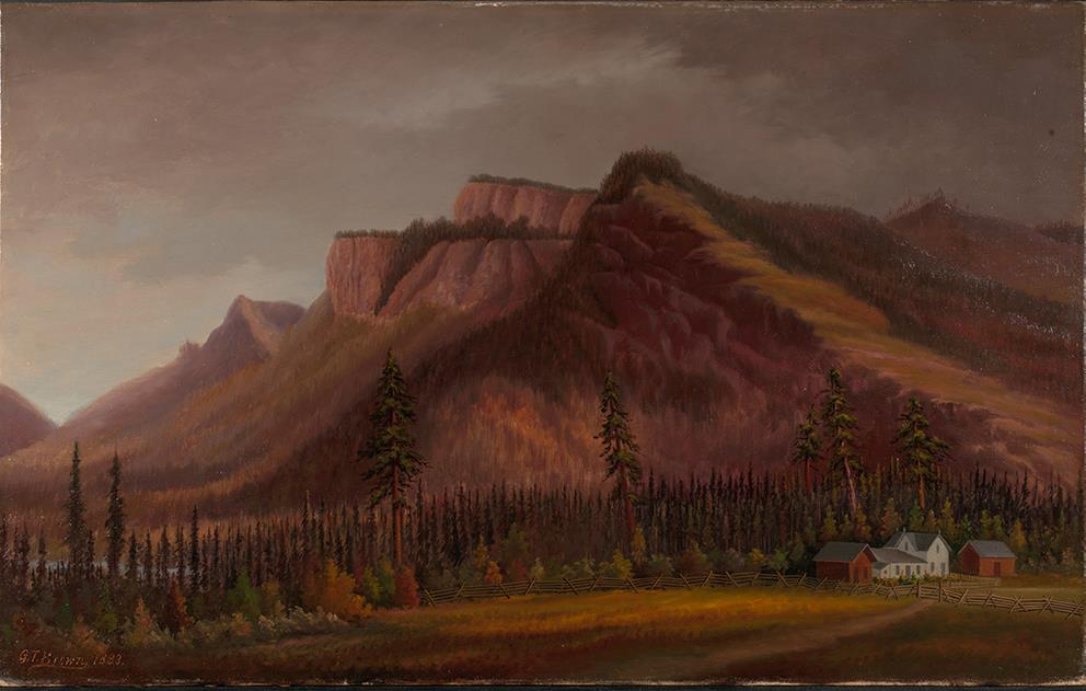 oil painting, muted colors, mountains are main feature with stands of coniferous and decidious trees in front. Lower right side is white house and faded red farm buildings, wooden fence; dirt road meandering to the house