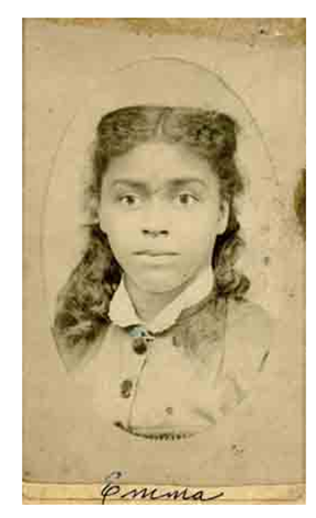 sepia toned portrait of young woman. Image in oval frame mat. Hair is in ringlets pulled back from her face; dress has buttoned bodice with white lace collar. Emma is written at the bottom.