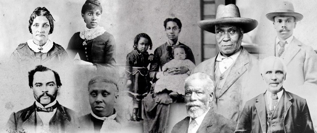 collage of faces of the Black men, women and children of varying ages who came to B.C. in 1858.