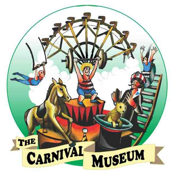 Logo for Carnival Museum which has a green circular backdrop with a Ferris wheel, acrobat, roller coaster, weight lifter, a magician with a rabbit coming out of hat and a horse