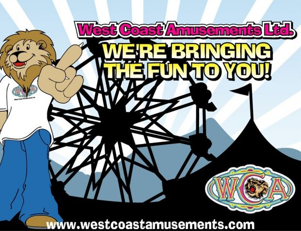 An illustrated picture of a cartoon lion mascot, wearing a WCA t shirt and blue jeans, in the background is an outline of a big top tent and Ferris wheel, the WCA logo is in the bottom right corner