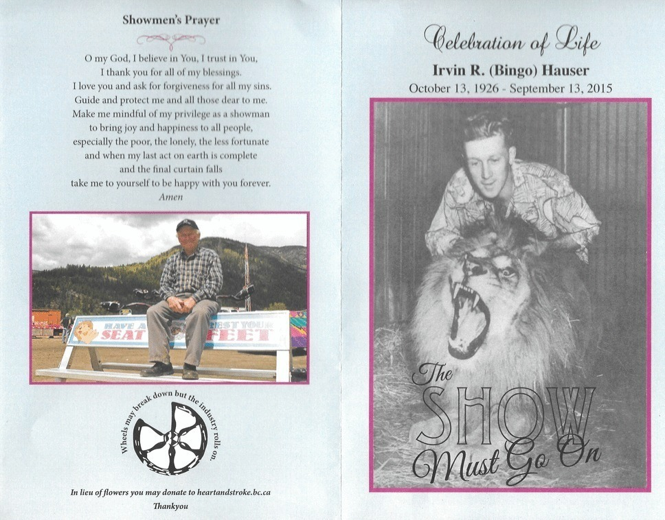 Front cover of remembrance pamphlet for Irvin Bingo Hauser, the left side features the Showmen's Prayer and a picture of an older Bingo sitting on a bench advertising WCA, the right side is a black and white photo of a younger Bingo with his lion Simba