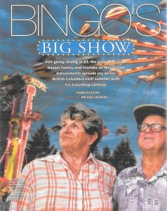 Magazine article title page featuring Bingo and Jackie around modern carnival rides including Chair-O-Plane ride. The title reads Bingo's Big Show