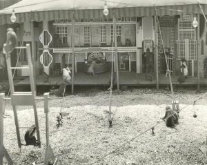Black and white photo of small monkeys in a dog and monkey hotel sideshow, there is a tent with lights set up and scenery that includes a fake cafe and city mall, a couple of monkeys are wearing outfits