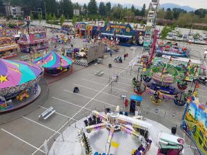 Bird's eye view of a carnival midway set up in a parking lot