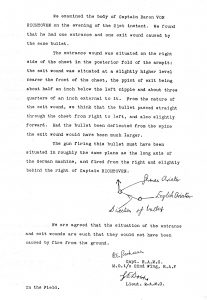 Typed copy of a letter. Black ink on white paper. At the bottom of the page is a small diagram that shows the positions of the aircrafts involved in the dogfight and the directions from which the bullets were fired.