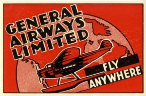 Illustrated white, red, and black with float plane, map of northern Canada, and words General Airways Limited; Fly Anywhere printed on it.