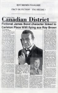 Copy of a newspaper article from the Carleton Place Canadian District, comparing the life of Roy Brown with the character James Bond.