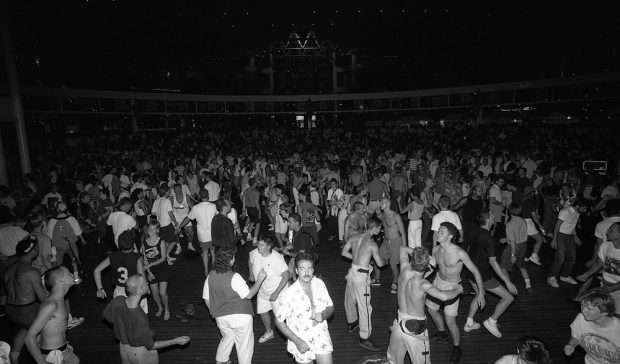 A crowded disco evening at Celebration Centre's Plaza of Nations.