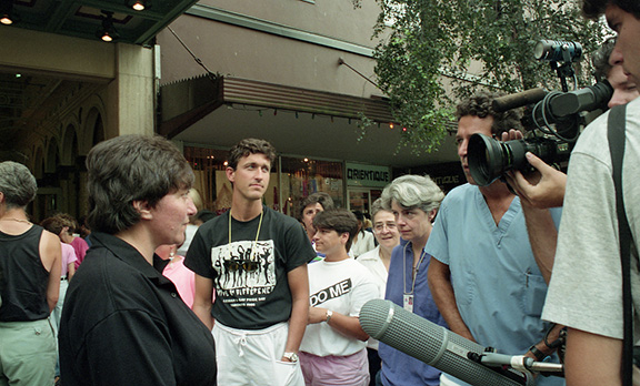 Press interview outside the Orpheum Theatre on August 10, 1990 during Gayla!