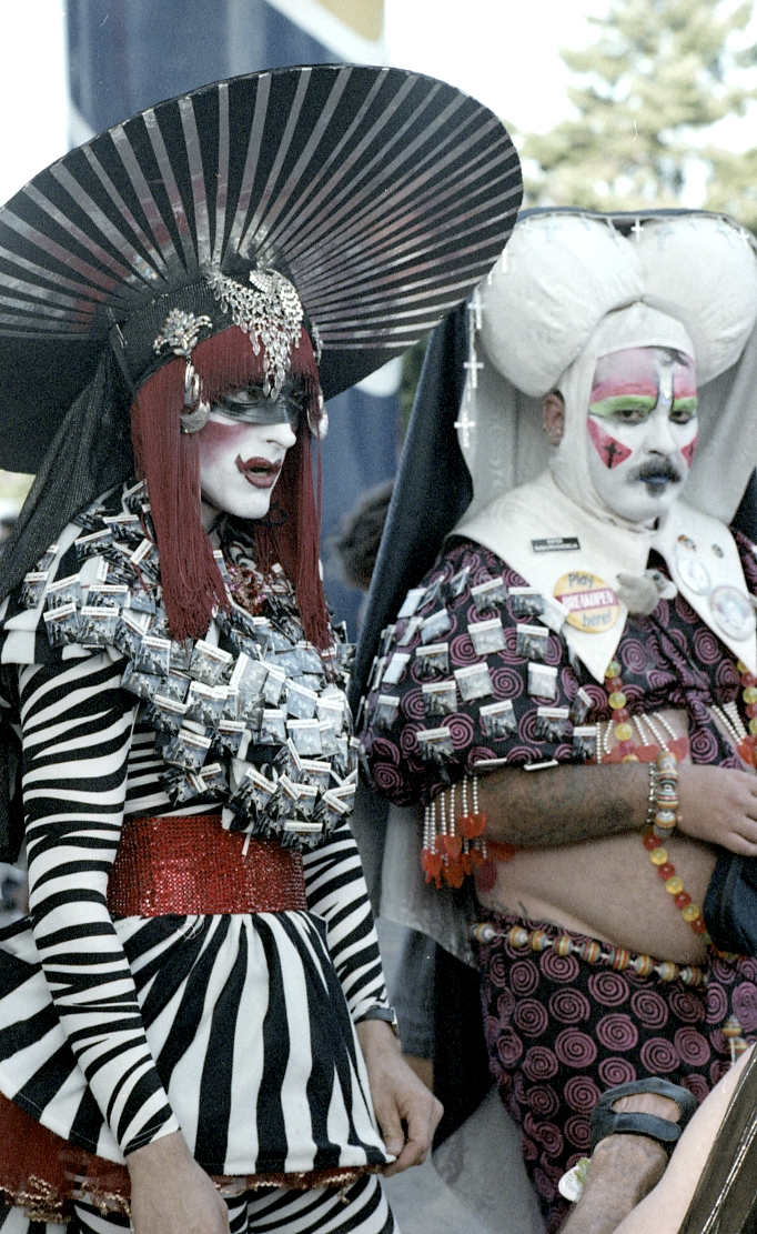Two elaborately costumed 'nuns' of the Sisters of Perpetual Indulgence originating order (established 1979) of San Francisco.