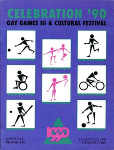 Couverture couleur du programme officiel Celebration '90 Gay Games III & Festival culturel. Publication agrafée de 77 pages, 1/2 pouces par 11 pouces.