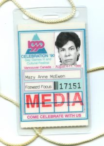 Mary Anne McEwen Celebration '90 media badge