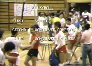 Results of the VGSG Volleyball Tournament are broadcast over an video image of the tournament.
