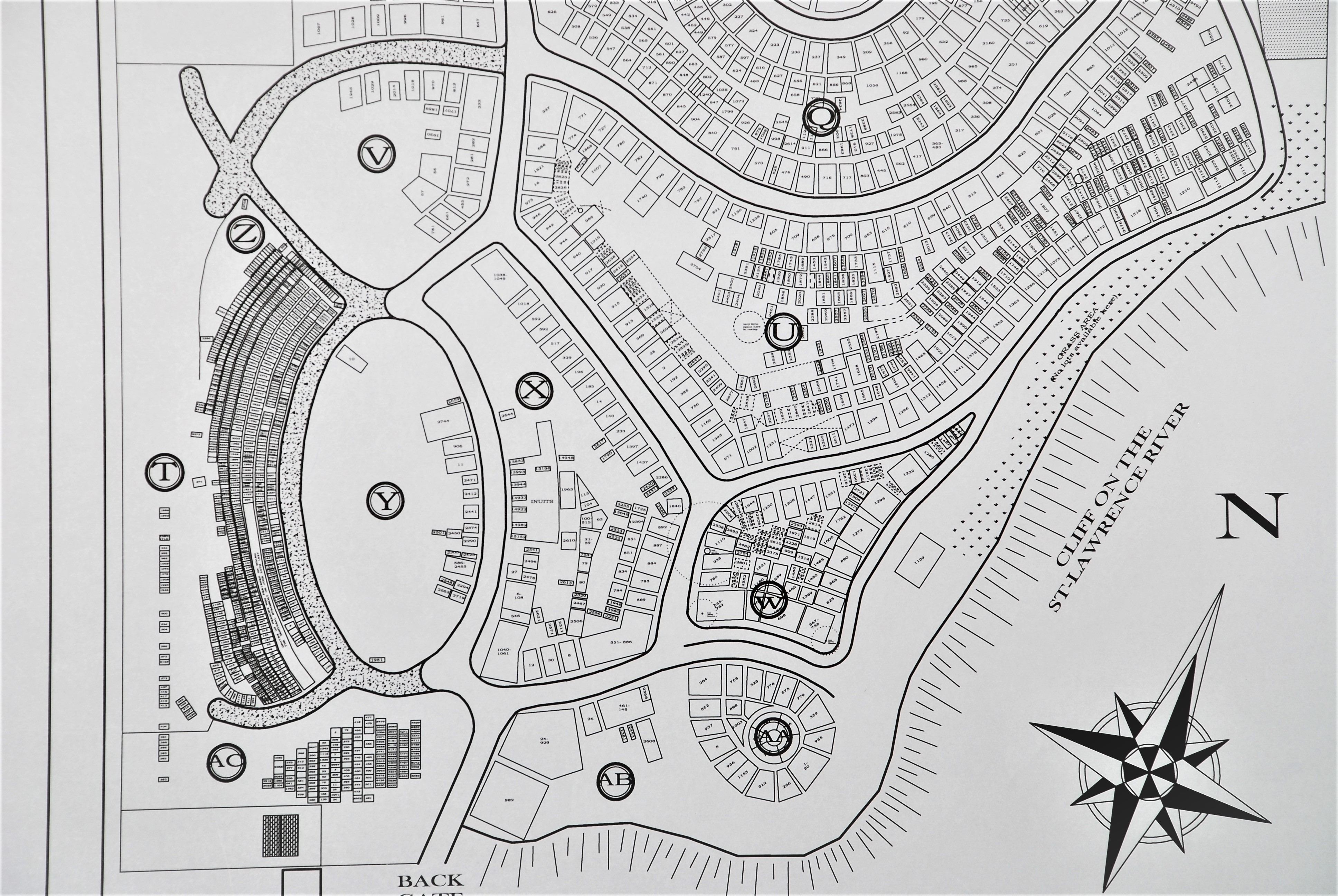 Black and white picture of cemetery plan of all the locations of the lots