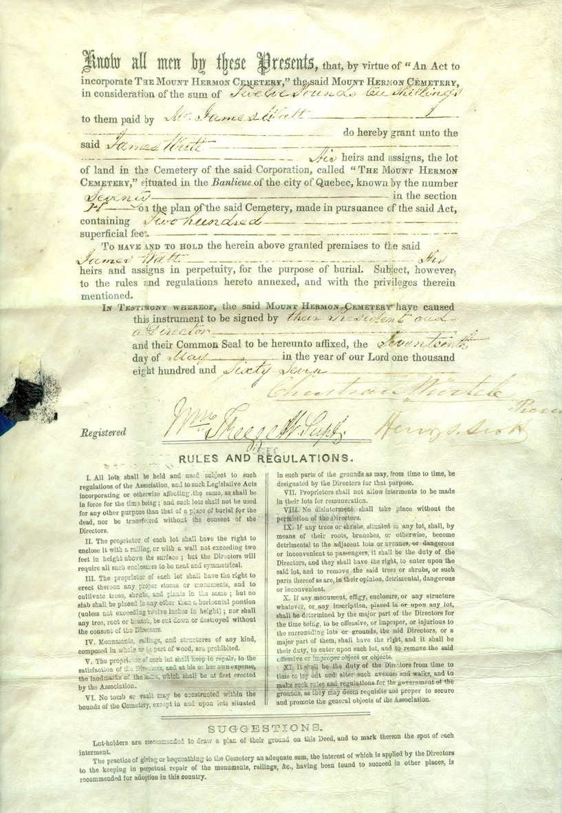 picture of a document of the deed of sale for lots.