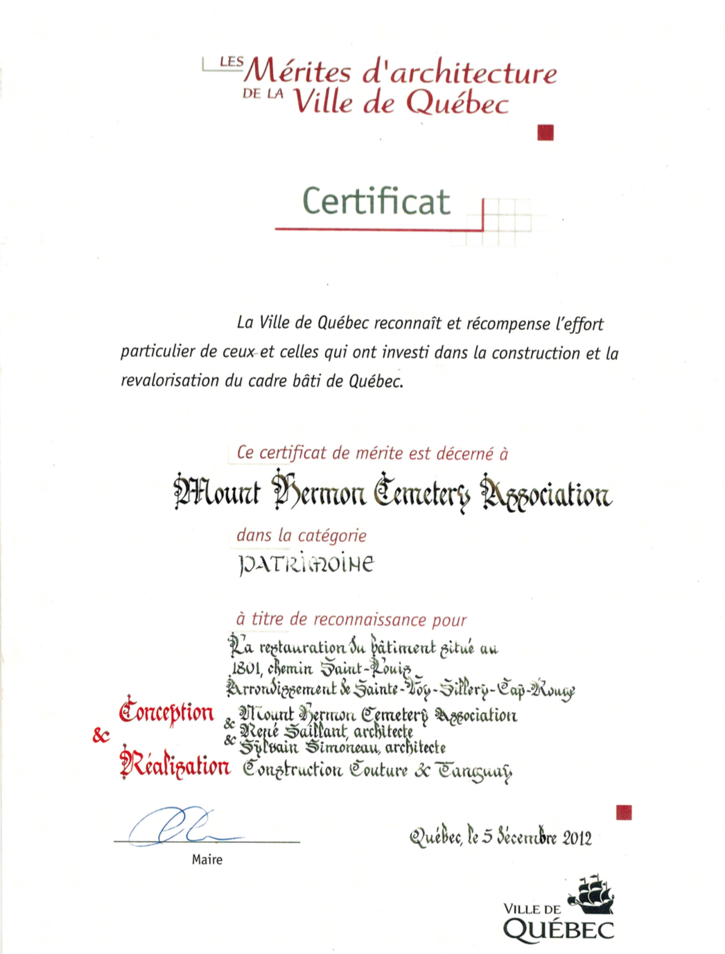 Certificat d'attribution de l'architecture