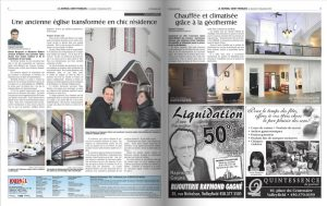 Two pages of a local newspaper, an article titled: An old church transformed into a classy residence, a few ads, five photographs of the inside of the church transformed into a private residence, a photo of a couple in front of the church.