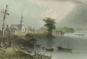 Old watercolor painting depicting a large cross, a church, and small houses on the waterfront, with people welcoming seafarers from various vessels arriving on the riverside.