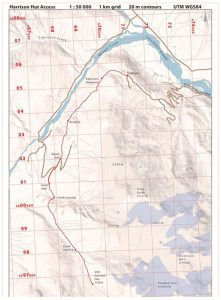 Grid map with the new trail route to the Harrison Hut marked in red.
