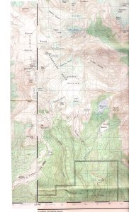 Topographical map of the Garibaldi Neve showing valleys, glaciers, and changes in terrain.