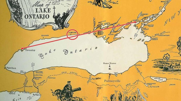 simple sketch map of Lake Ontario including illustrations of missionaries, battle, natives and river transportation. A red line has been added between Toronto (York) and Kingston with a circle indicating the location of Cobourg