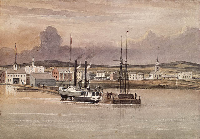a watercolour painting of a paddle wheel steamboat with two tall black funnels beside a dock leading to a warehouse. other mostly white buildings can be seen in the background
