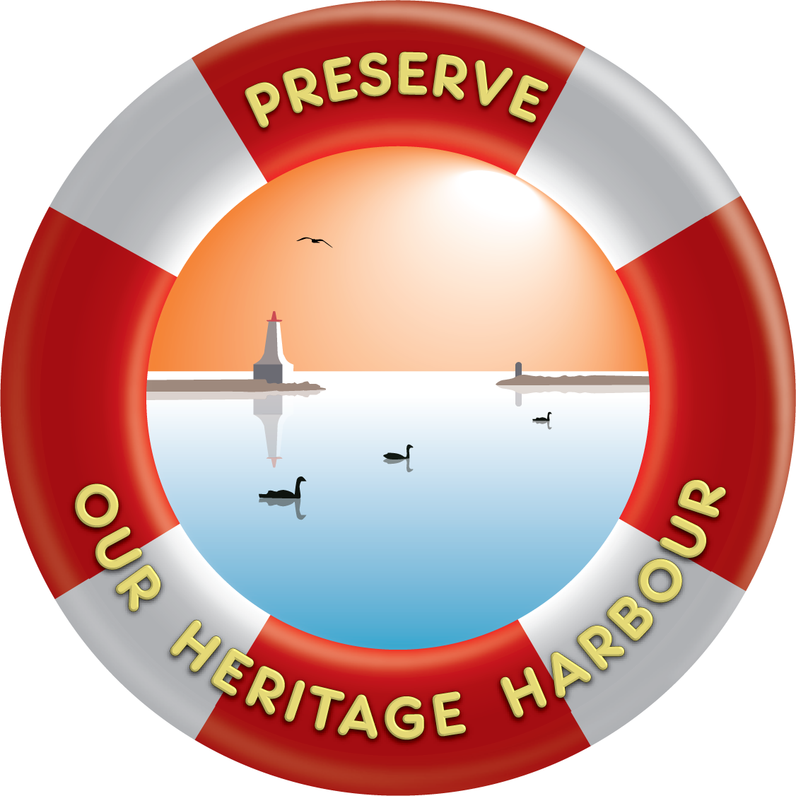 logo in the form of a red and white life preserver with the words PRESERVE OUR HERITAGE HARBOUR in yellow. in the centre is an image of calm blue water, a white lighthouse and three waterfowl