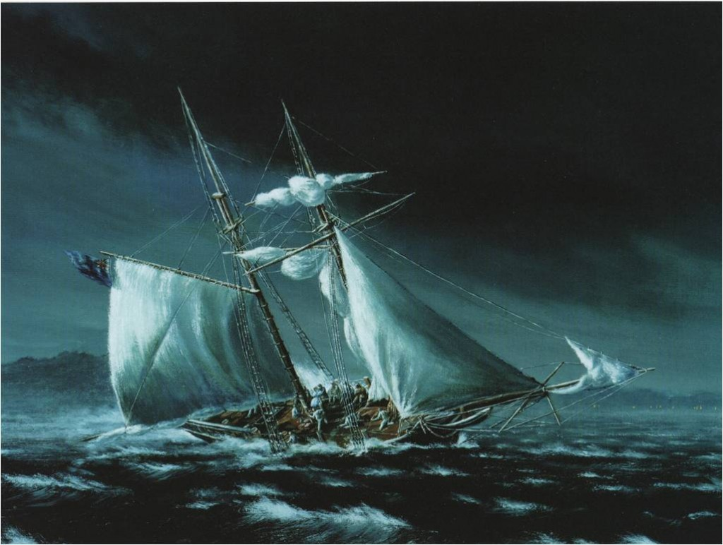 in a dark blue night-time scene a sailboat lists to starboard with passengers on deck and starting to fall into the sea. Sails fore and aft are billowing.