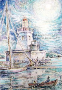 a pastel sketch of a square white lighthouse on a large square base. At the edge of the base are workers and a person fishing, and in the foreground a sailboat and a rowboat with one rower