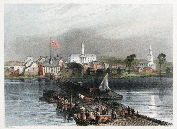a coloured print with a wooden pier stretching from the right front towards the shore. People with their boats and horse and buggy are on the dock. A large white building with a tower (Victoria College) and a white steepled church (St. Peter's Church of England) are prominent among the buildings on shore