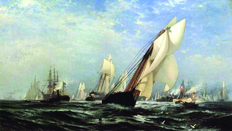 a watercolour painting of numerous large sailboats in full sail on dark green water with a lightly clouded blue sky