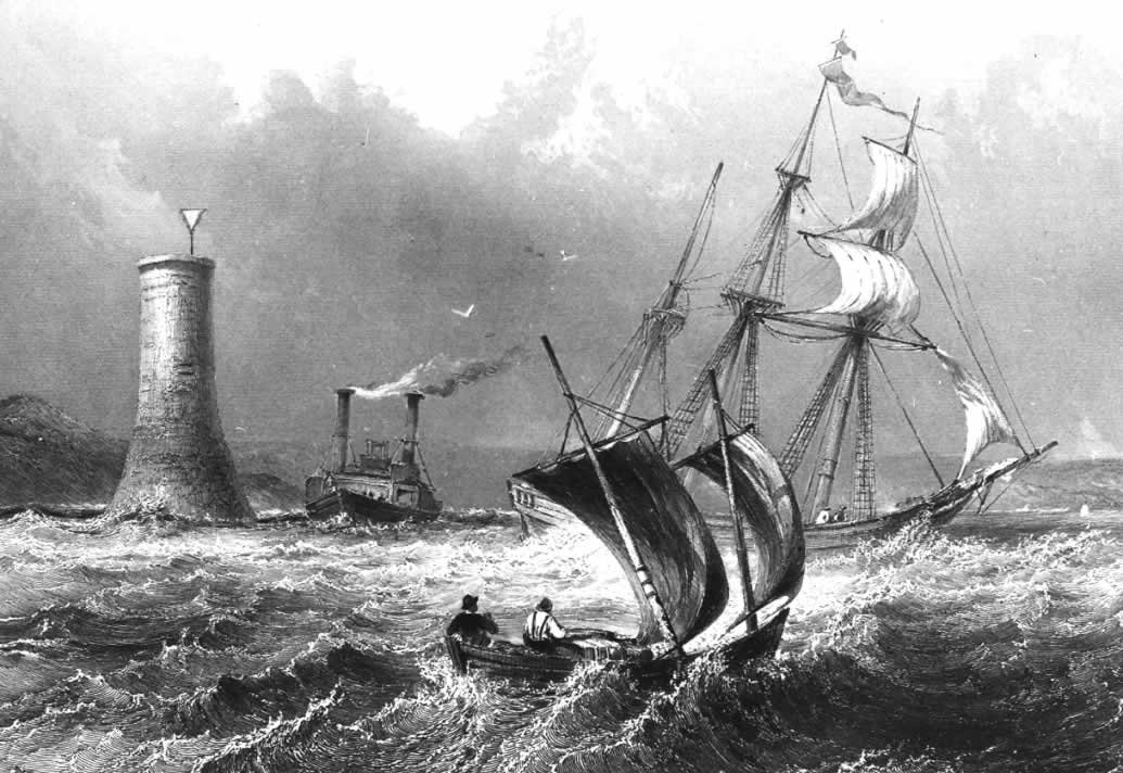 a black & white etching in which a small sailboat, a larger sailing vessel and a steamboat all battle the waves near a tall round structure holding a white triangular marker. Hills rise to the far left.