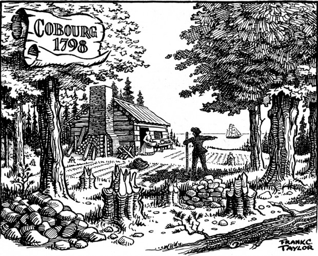black and white sketch of a homesteader standing in a small field pointing to a sailboat on a lake while looking towards a woman with a basket standing in the doorway of a log cabin. In the foreground are stumps of trees and a pile of rocks.