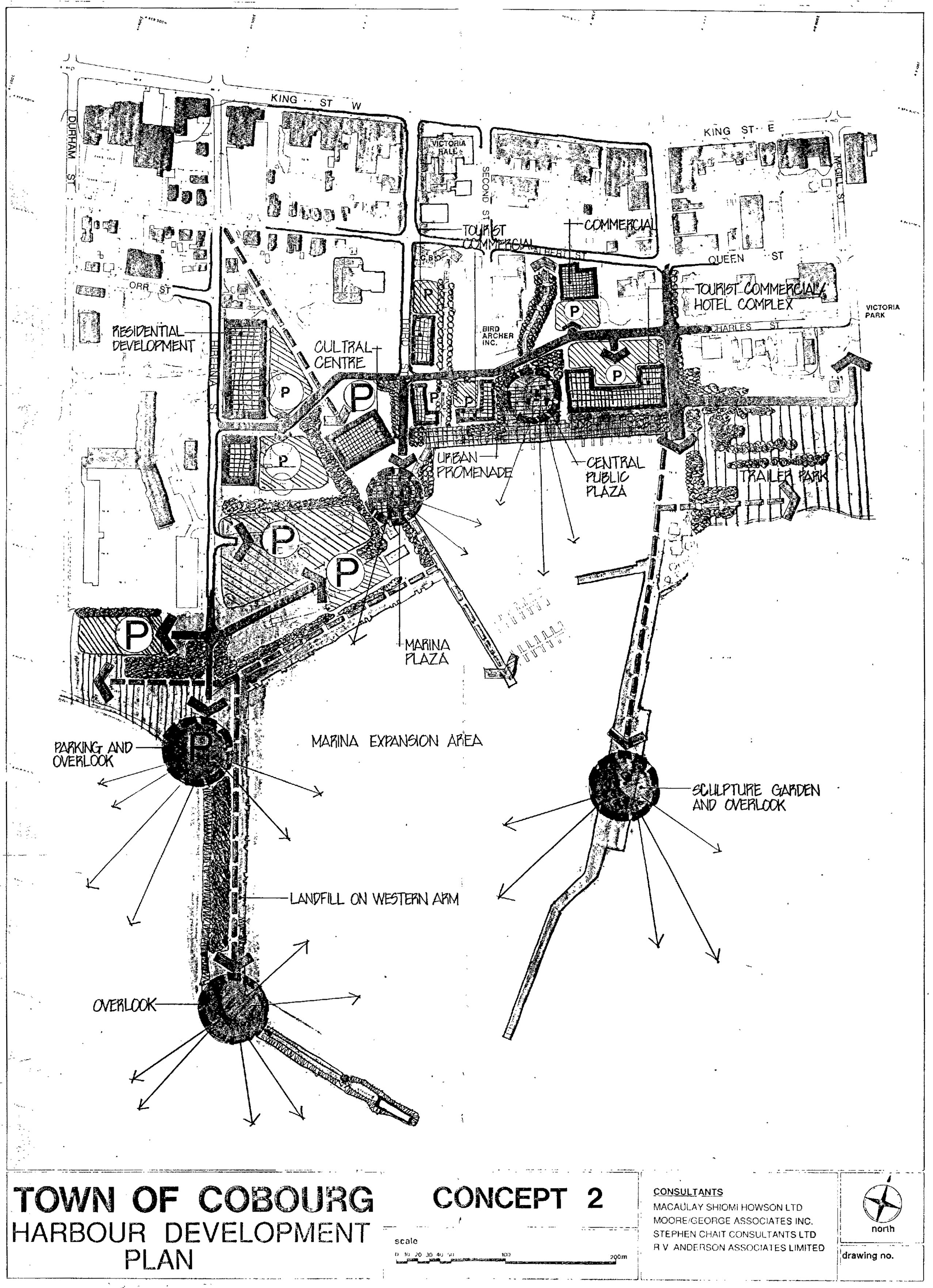 black and white Town of Cobourg Harbour Development Plan including lookouts near the end of two main piers, a sculpture garden on the east pier and a hotel complex north of the trailer park