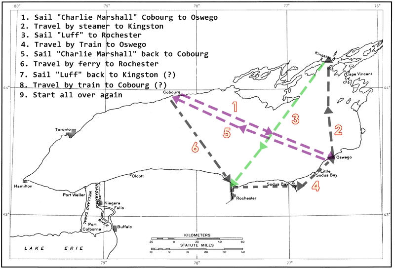 an outline map of Lake Ontario showing the routes of the Charlie Marshall and the Luff