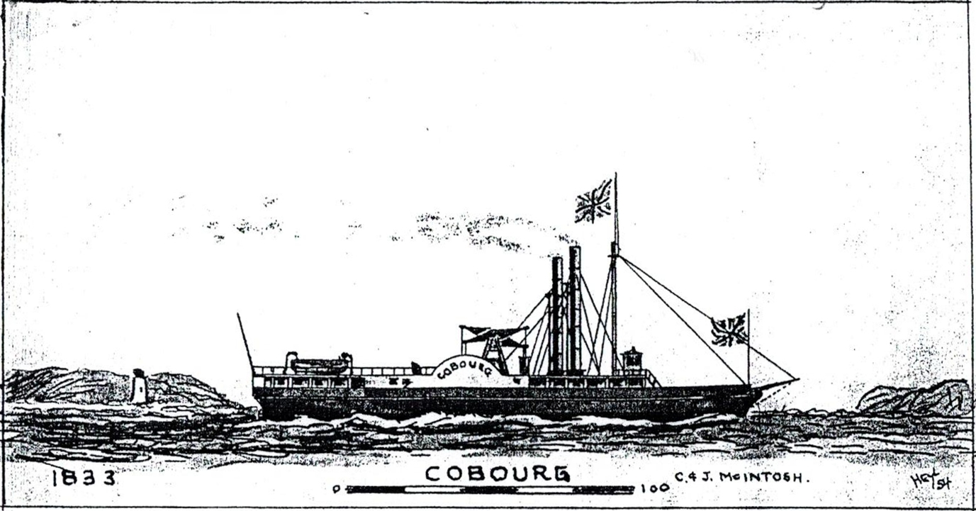 a black and white sketch of a steamship sailing in front of a roughly drawn shoreline with lighthouse. The steamer flies two Union Jacks and has the name COBOURG on the paddlewheel covering.