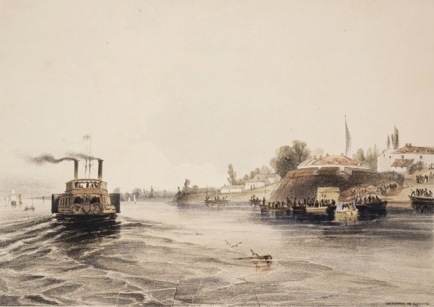 A pink-wash painting of a paddlewheel steamer with two funnels, leaving a wake as it passes fortification on the shore to starboard.