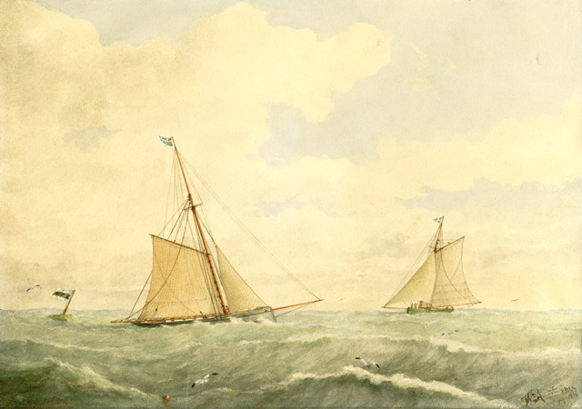 a watercolour painting of two old sailboats on green wavy water near a marker buoy