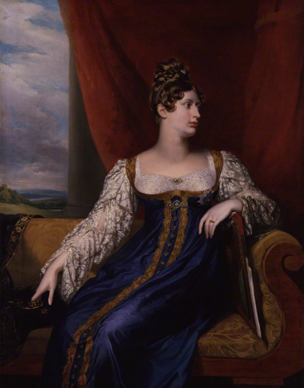 woman seated in a purple dress with white sleeves and bodice, looking over her left shoulder, brown hair in high curls. There is a picture, mostly clouds, in the left background.