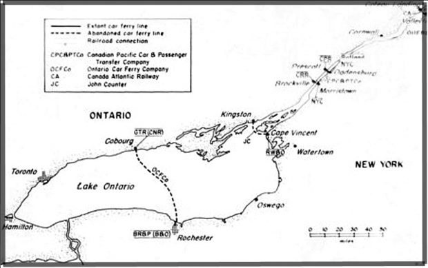an outline map showing Lake Ontario and the St. Lawrence River as far east as Cornwall. A dotted line shows the route of the Ontario Car Ferry Company ferries between Cobourg, Ontario and Rochester, New York.