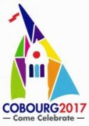 the Town of Cobourg logo with Victoria Hall cupola against the background of a multicoloured sail and the words COBOURG 2017 Come Celebrate""