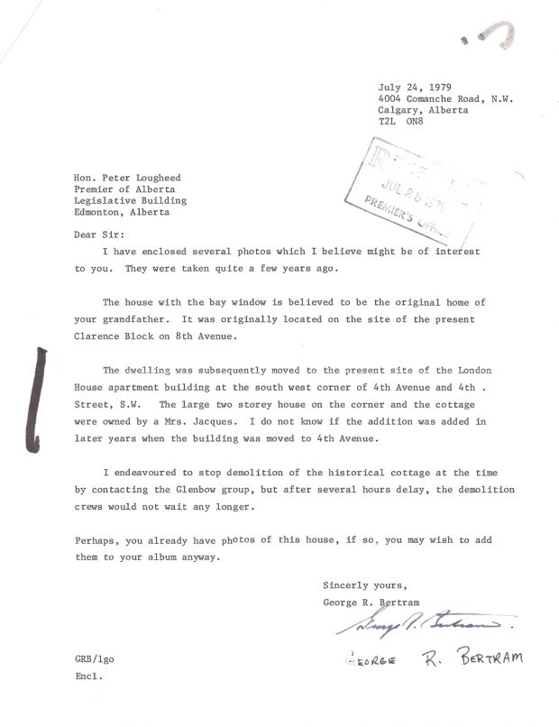 July 1979 letter from George Bertram to Peter Lougheed that accompanied photos sent of the Lougheed original home.
